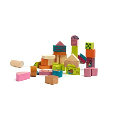 Oops Little Helper Double Sided Printed Wooden Building Blocks in Vibrant Colours for Building 2 Different Worlds (50 Pieces): Baby