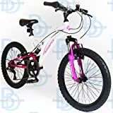 "Muddyfox Eclipse 20"" Girls Dual Suspension Bike - White and Pink"
