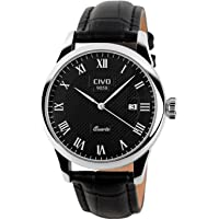 CIVO Mens Watches Genuine Leather Band Date Calendar Waterproof Wrist Watch Men Casual Business Dress Watch Luxury Fashion Simple Quartz Wrist Watches for Men