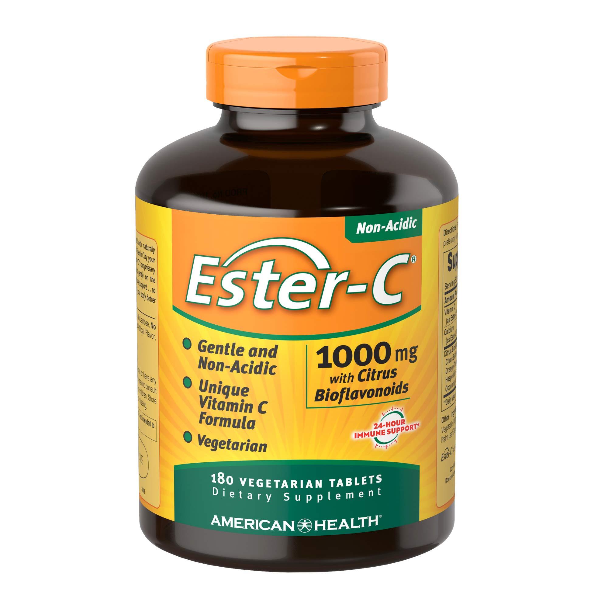 American Health Ester-C with Citrus Bioflavonoids Veg Tablets - 24-Hour Immune Support, Gentle On Stomach, Non-Acidic Vitamin C - Non-GMO, Gluten-Free, Vegan - 1000 mg, 180 Count, 180 Servings