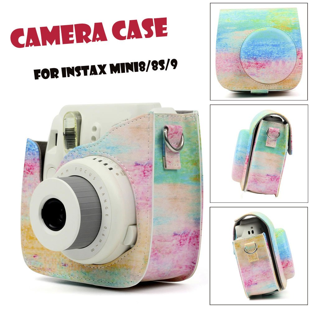 Rainbow Canvas Symphony Case Bag Skin Cover Accessories for Fujifilm Instax Mini 8/Mini 8s/Mini 9