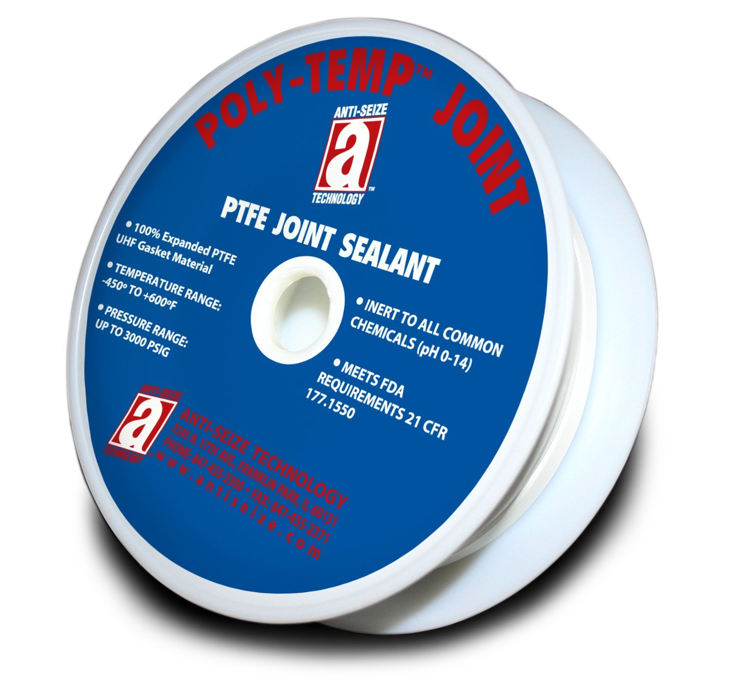 POLY-TEMP 28010 White Joint Sealant 100% PTFE Gasket Material Expanded UHF Adhesive Tape, 3/8'' x 25'