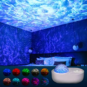 Star Projector Night Light, 10 Colors Music Projector Ocean Wave Projector with Bluetooth Speaker Rotating Galaxy Projector for Kids Adults Bedroom Decoration