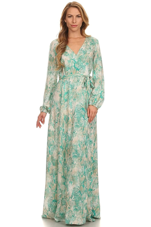 Ag Studio Women Elegant Long Sleeve Summer Cocktail Party Casual Maxi Dress