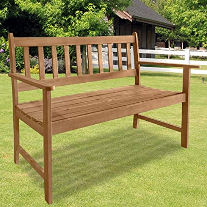 Marvelous Amazon Com Patio Wood Bench Park Garden Outdoor Bench With Machost Co Dining Chair Design Ideas Machostcouk
