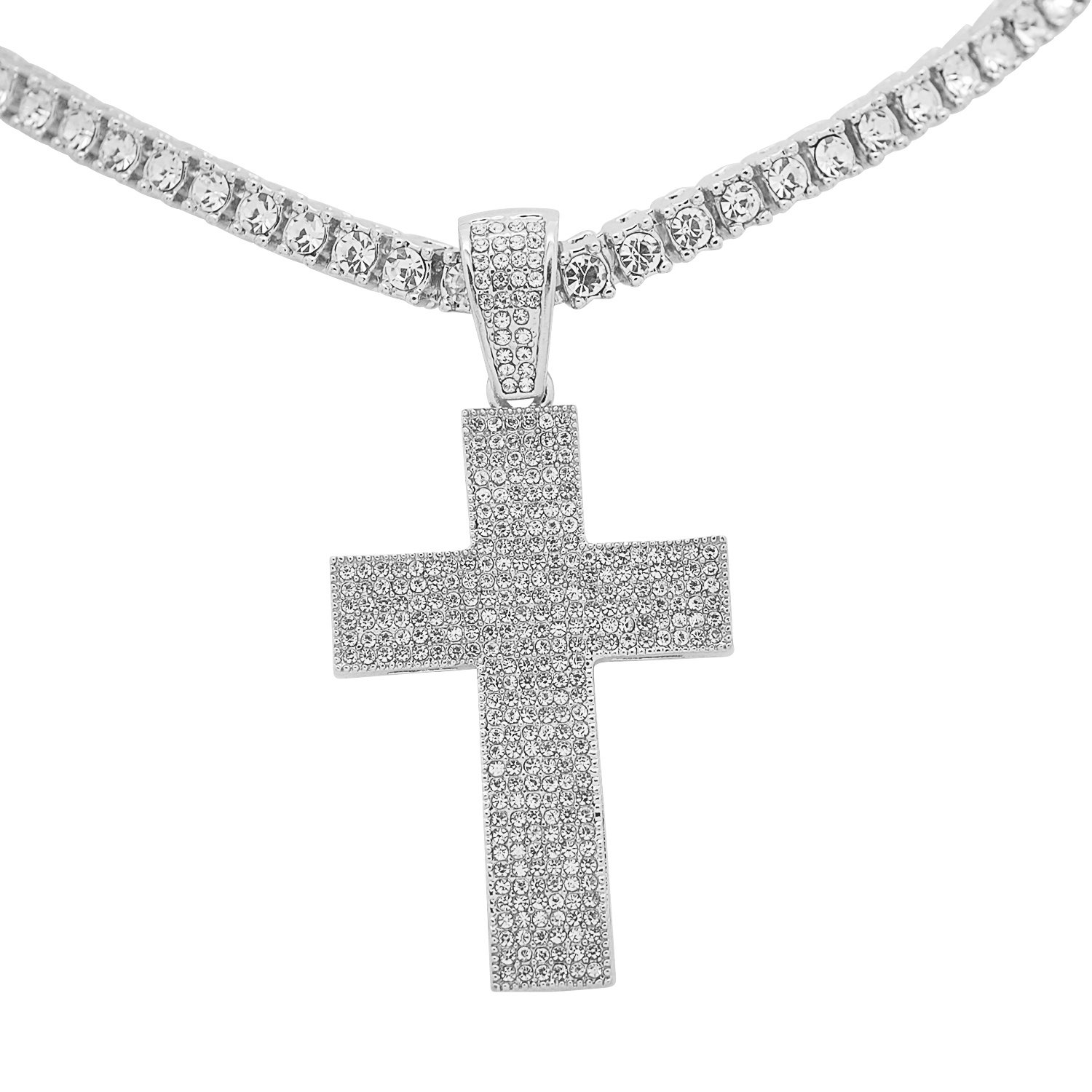 White Gold-Tone Iced Out Hip Hop Bling Cross Pendant with 1 Row Stones Tennis  Chain 16