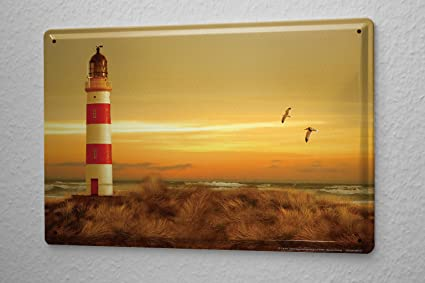 Amazon.com: Maritime Decoration Tin Sign Coastal Lighthouse Seagulls ...