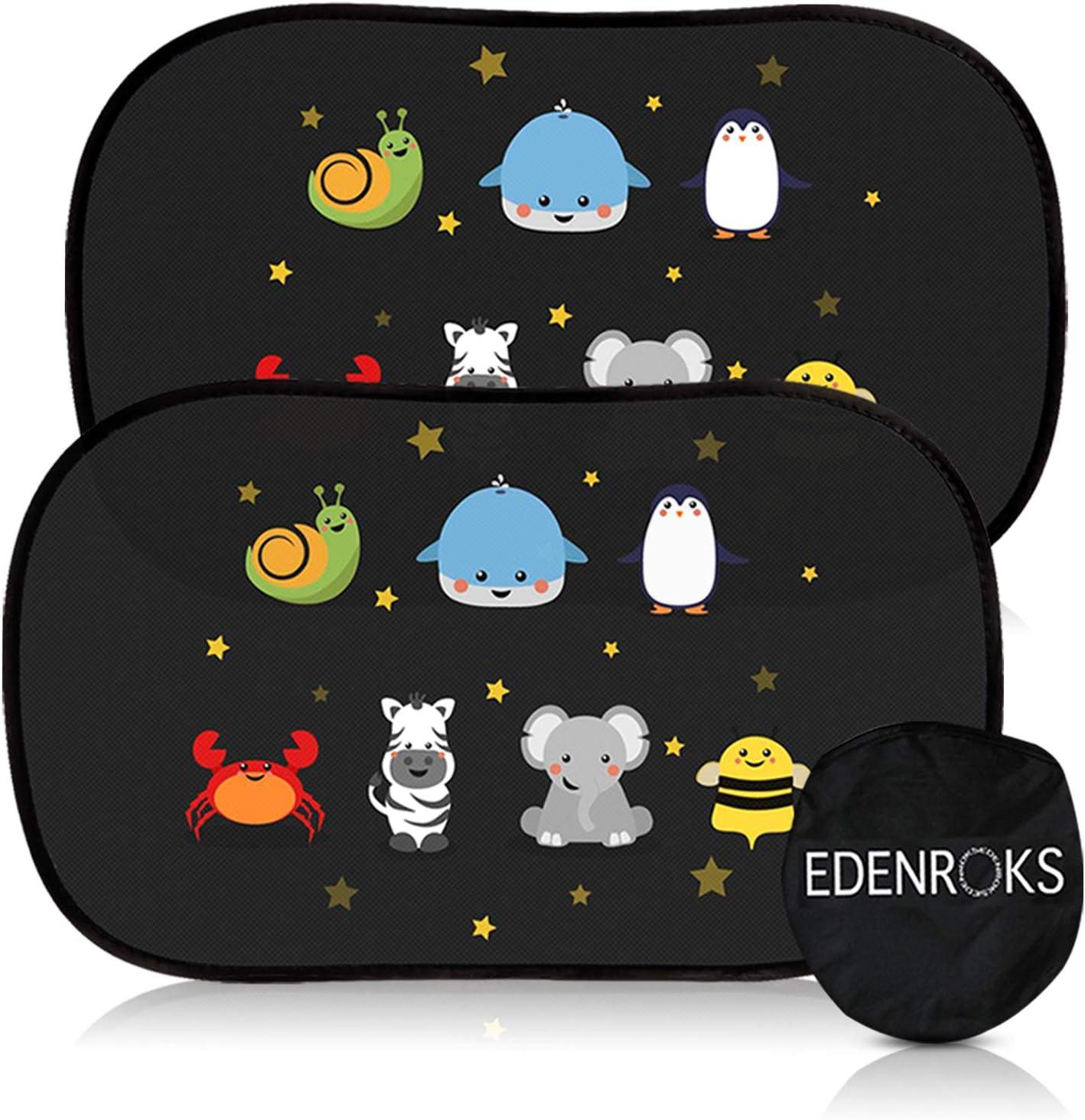 Edenroks - Cortinas parasol para coche para niños – Seguras – Se adhieren sin pegamento ni ventosas – Cortinas opacas plegables con funda protectora – 2 unidades de 51 x 31 cm
