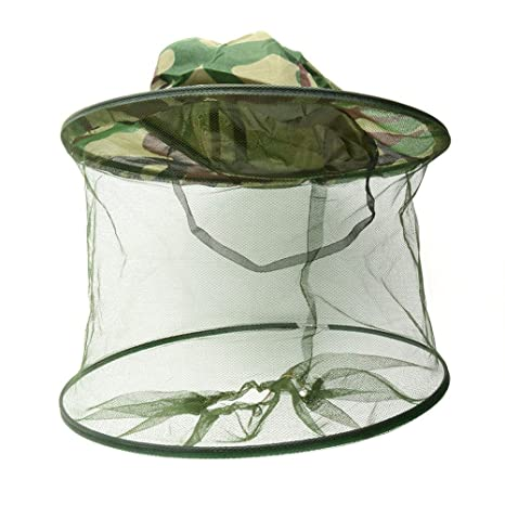 BESTOMZ Mosquitera para la cabeza Protector Cabeza Mosquitera Abeja Insectos Repelente Malla (camuflaje)