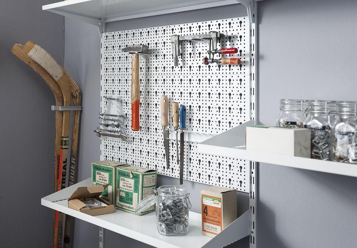 Element System ORGANIZER 3 Werkzeugwand aus Metall 72-teilig inklusive Schrauben und D/übel Lochwand wei/ß /& 11404-00002 Werkzeughalter 6 St/ück//f/ür Werkzeuglochwand//Lochplattenwand//wei/ß
