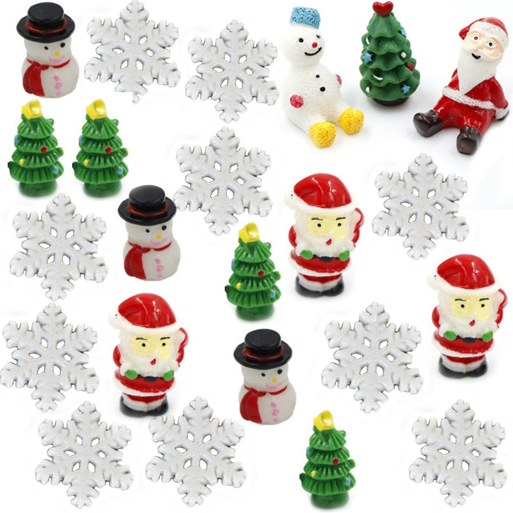 BESTIM INCUK 23 Pack Chirstmas Miniature Fairy Garden Accessories Xmas Mini Figurine Ornaments Kit for Fairy Garden, Home Decoration- Snowflake, Christmas Tree, Snowman, Santa Claus