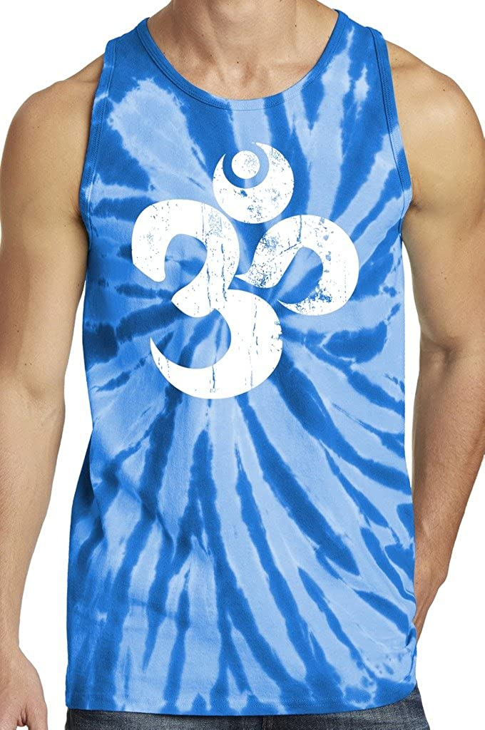 Yoga Clothing For You Mens Distressed Om Tie Dye Tank Top PC147TT-DISTOM