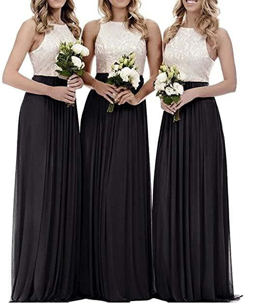 ZVOCY Women\'s Halter Lace Chiffon Bridesmaid Dresses Long Prom Formal Gowns  Plus Size