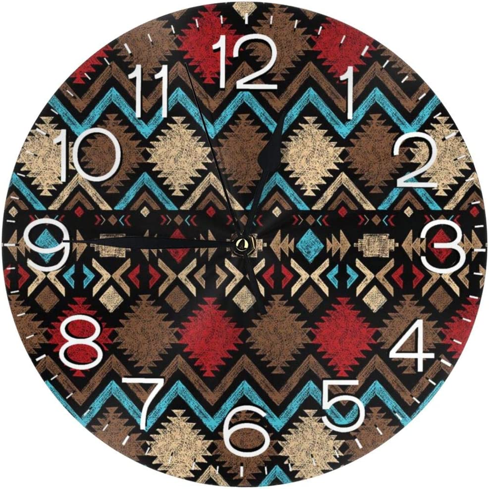 KZEMATLI Home Decor Tribal Ethnic Design Colorful Shapes Latin American Inspired Wall Clock Non Ticking Silent Clock Art for Living Room Kitchen Bedroom Clock