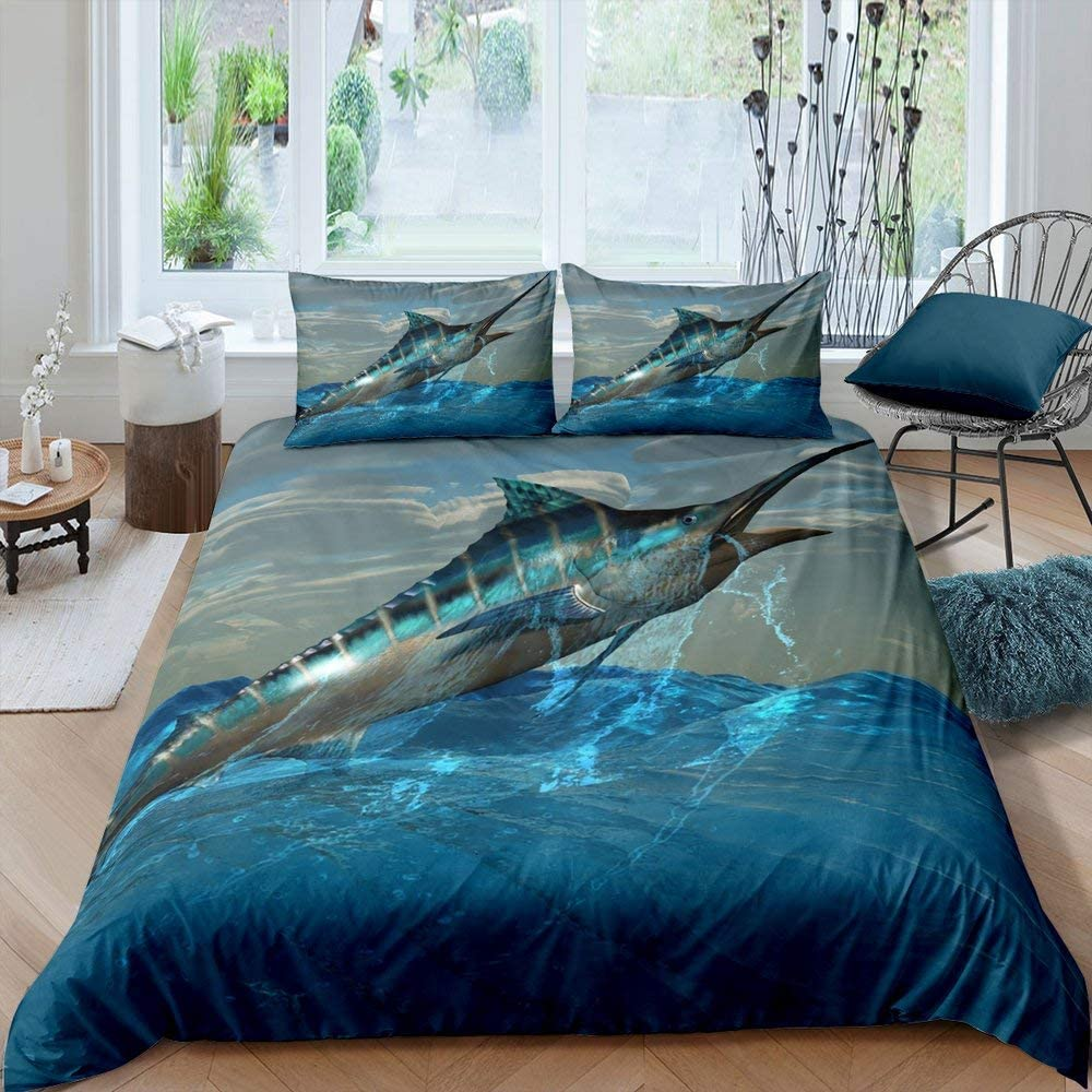 Teal Ocean Comforter Cover Marlin Swordfish Duvet Cover Nautical Fishing Theme Bedding Set For Kids Teen Boys Coastal Underwater Animal Quilt Cover Soft Child Room Decor With 1 Pillow Case Twin Size