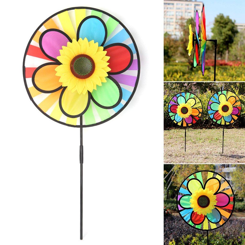 GUBENM Moulin /à vent joue enfants Ext/érieur Multicolore Jardin D/écoration de Fleurs Spinner