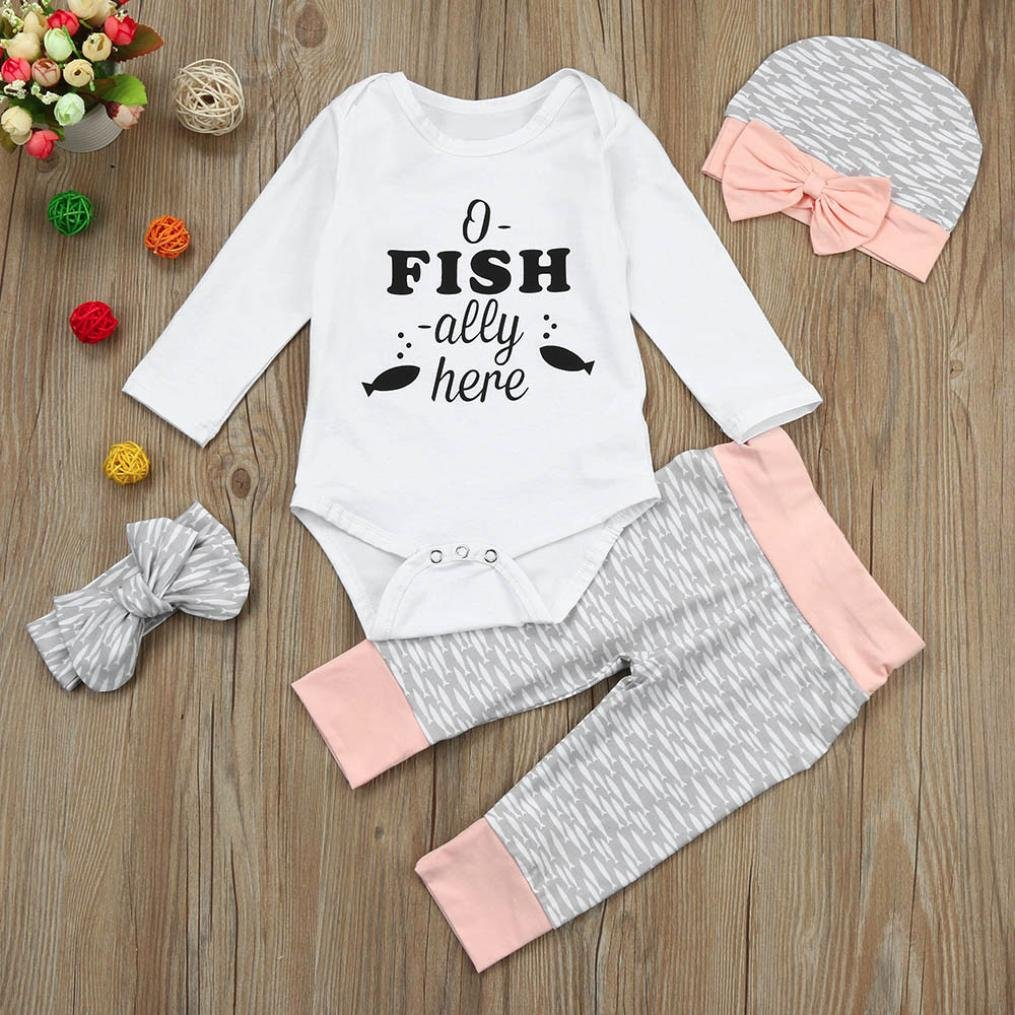 For 0-18 Months Baby,DIGOOD Toddlers Newborn Baby Girls Boys Cute Romper+Pants+Hat+Headband 4Pcs Outfits Fashion Clothes