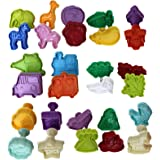 Kurtzy 28 Pieces Plunger Cookie Cutters - Spring Plunger Cutter - Plastic Biscuit Cutter - Fondant Plunger Cutters and Molds - Pastry Cutter in Animal, Vegetable, Baby Themed and more