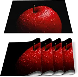 Placemats Set of 6 Watercolor Red Fruit Apples and Water Drops Kitchen Decor, Stain Resistant Washable Table Place Mats for Kitchen Dining Tables Black