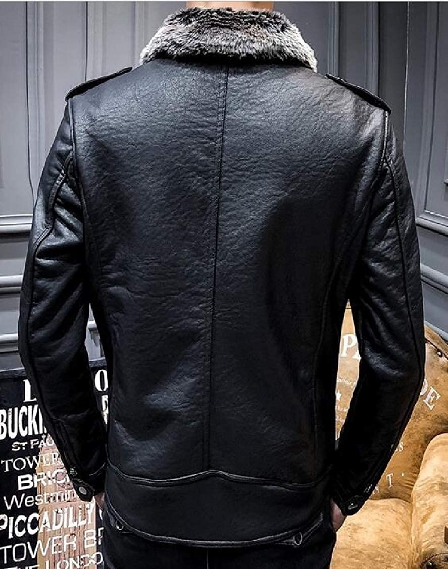 XQS Mens Thicken Faux Leather Winter Jacket with Fleece Lining Coat