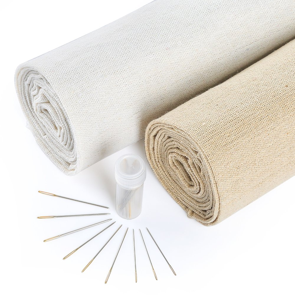 Caydo 2 Pieces 2 Colors Natural Linen Fabric and 30 Pieces Needle for Garment Craft, 13 by 63 Inch Needlework Fabric Cloth 4336930888