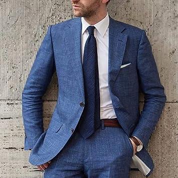 GFRBJK Designs Traje Azul de Lino de Playa para Hombre Traje Slim ...