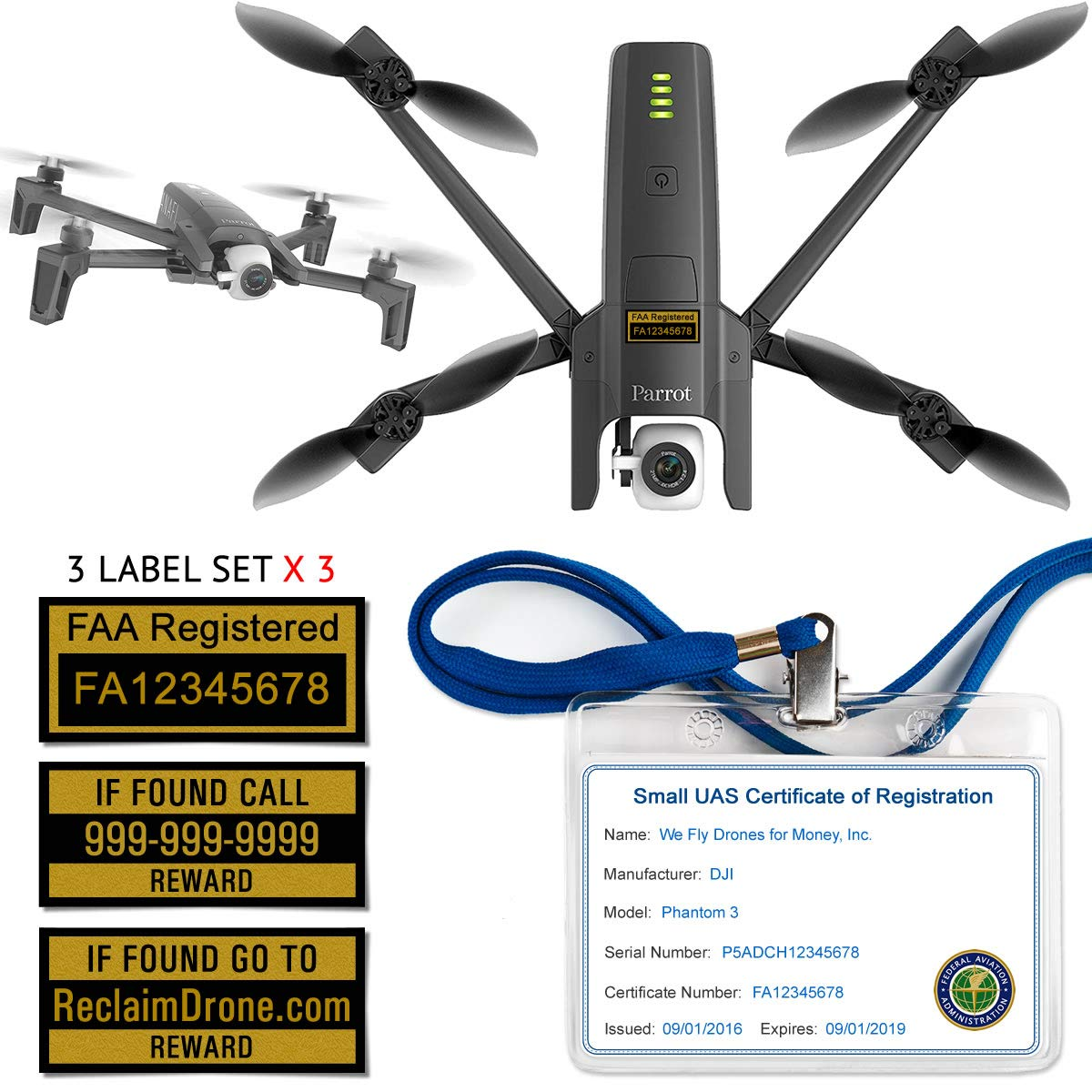 Parrot Anafi - FAA Drone Labels (3 Sets of 3) + FAA UAS Registration ID  Card for Commercial Pilots + Lanyard and ID Card Holder