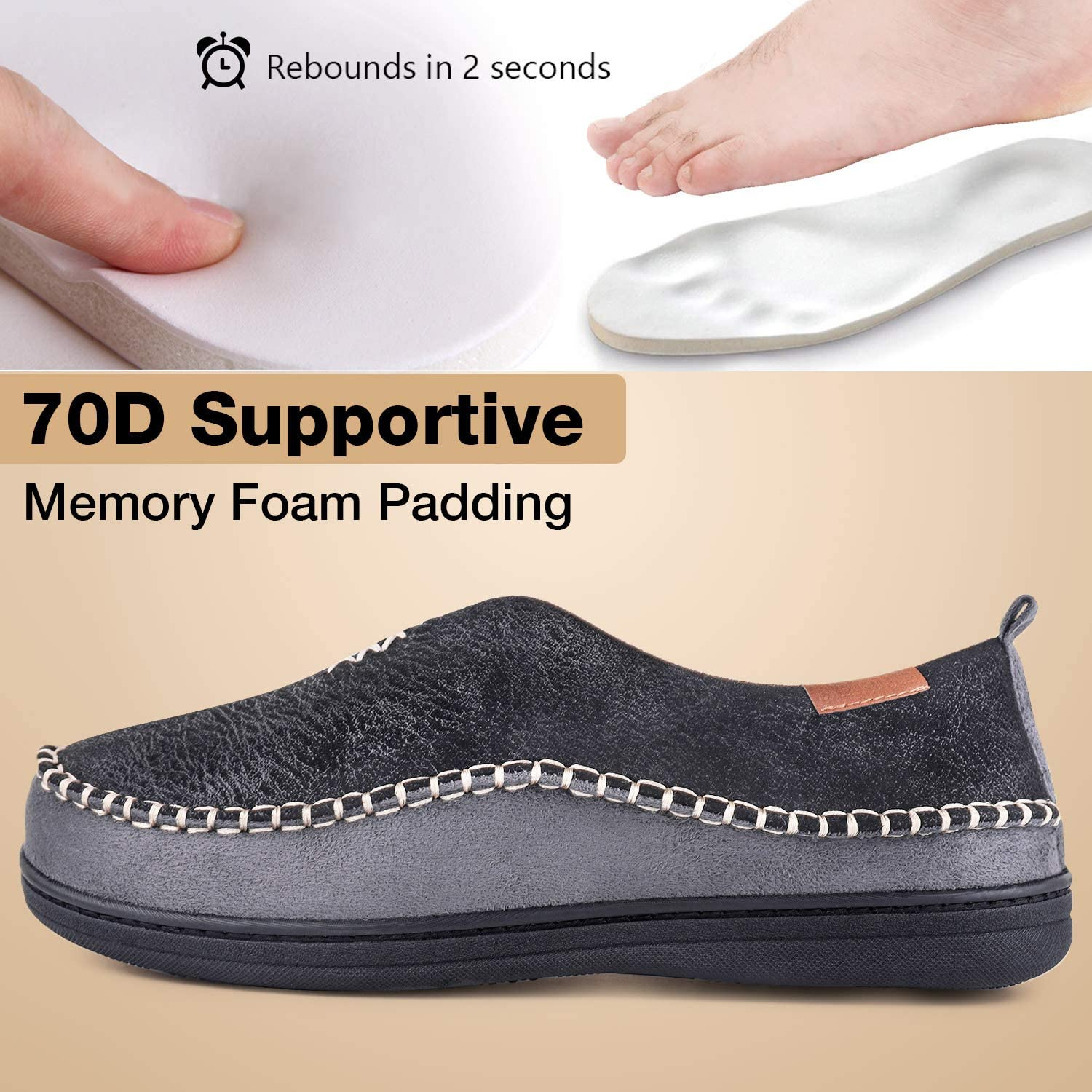 EverFoams Mens Suede Memory Foam Moccasin Slippers with Fuzzy Sherpa Lining