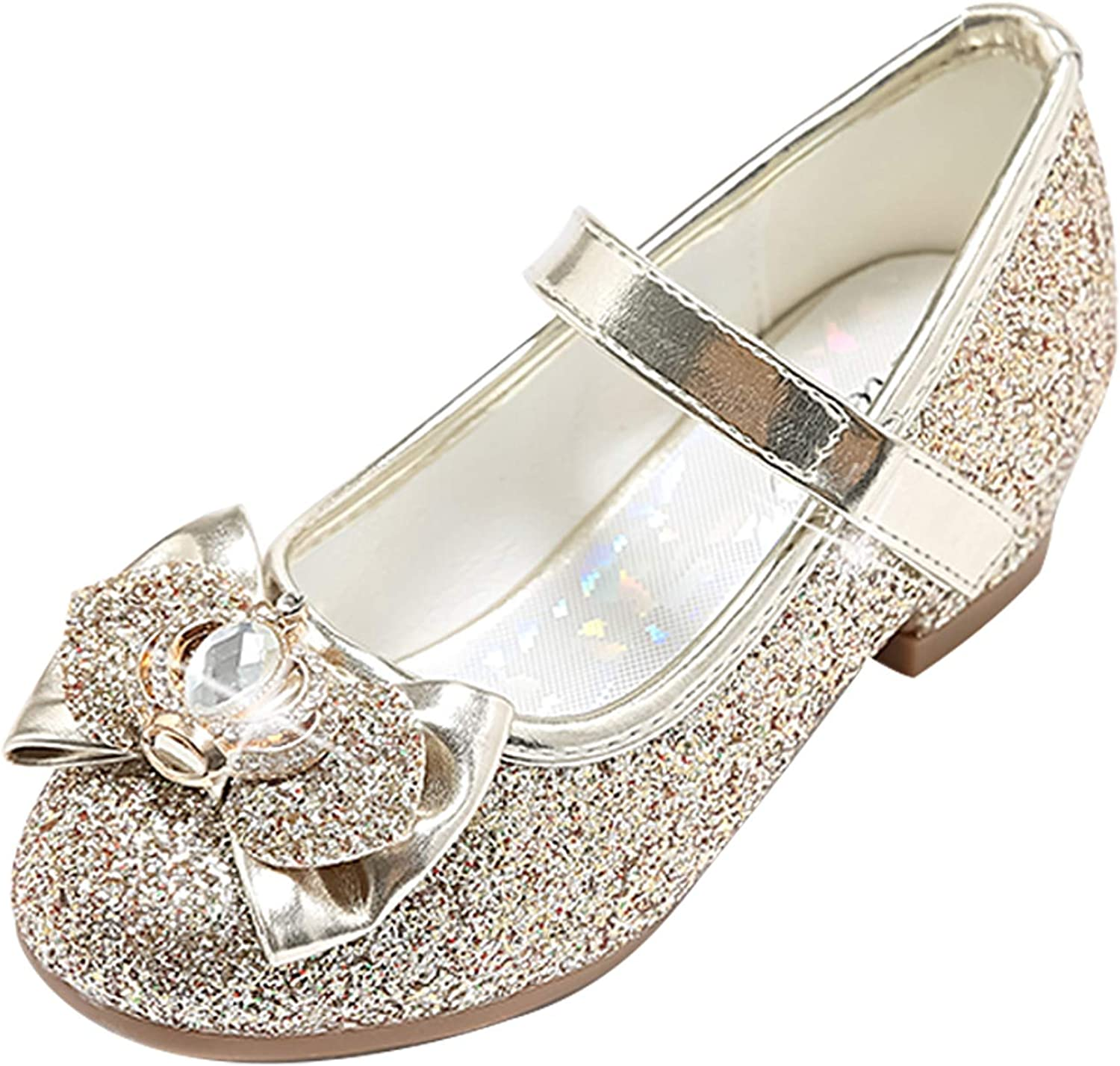 STELLE Girls Mary Jane Glitter Shoes Low Heel Princess Flower Wedding Party Dress Pump Shoes for Kids Toddler