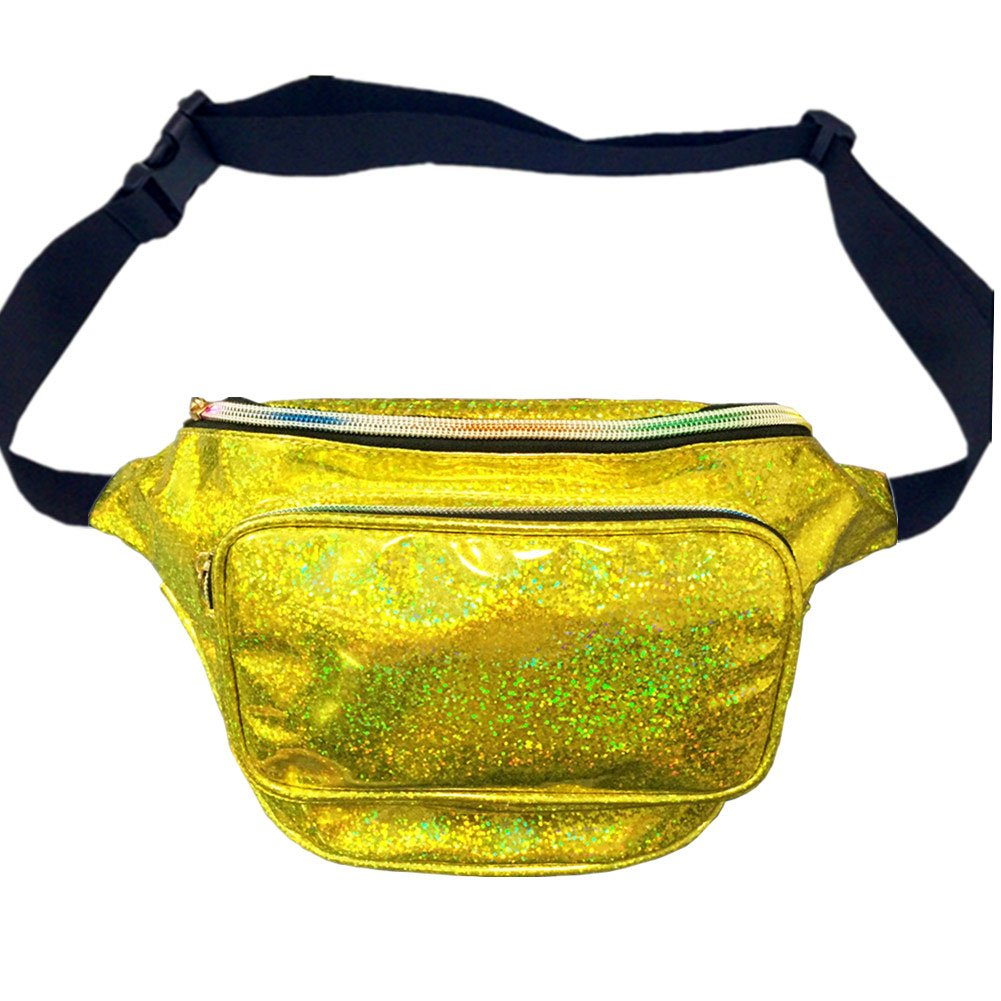 CHAOM Women Hologram Laser Waist Bag Fashion Shiny Neon Fanny Pack Bum Bag Travel Purse