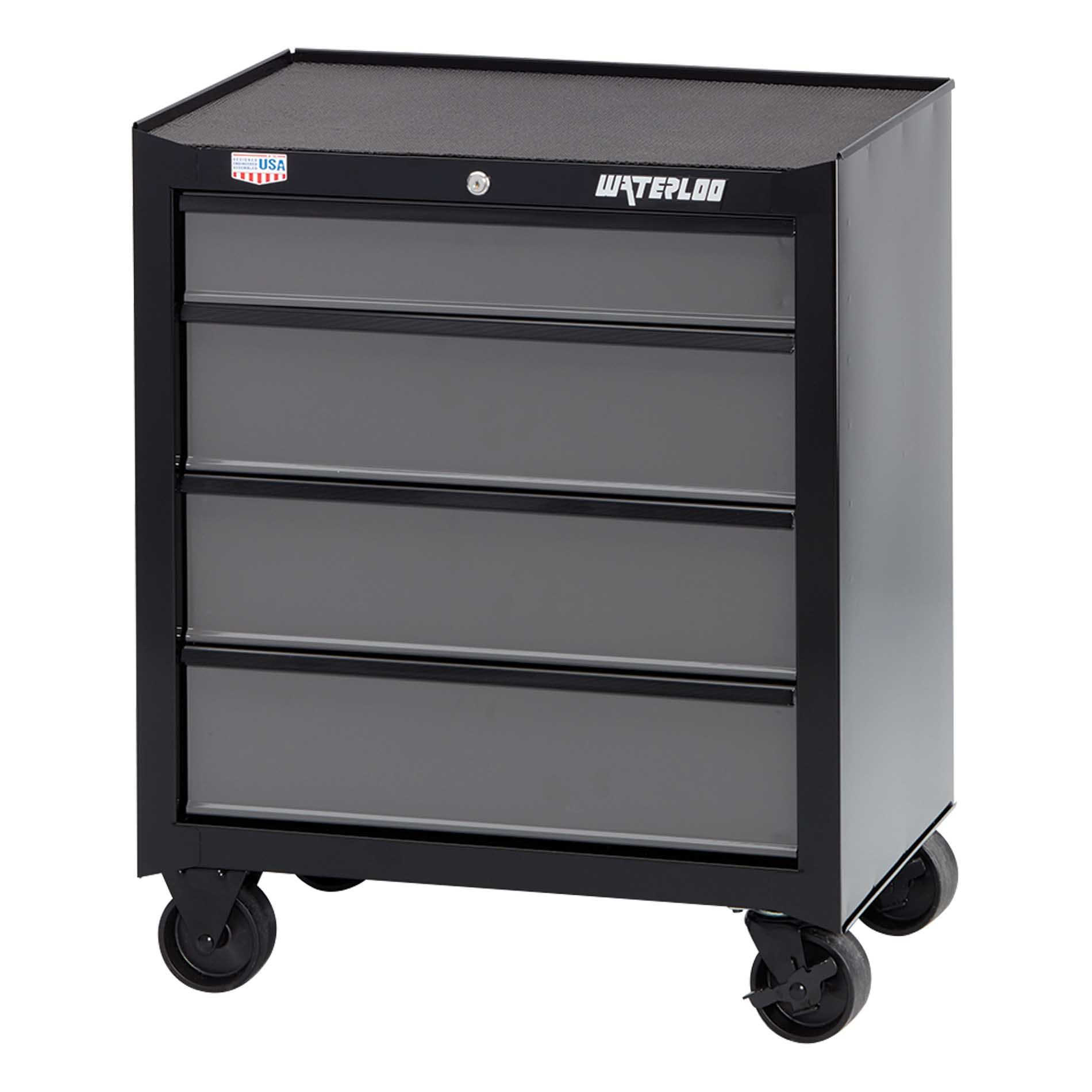Waterloo W100 Series 4-Drawer Rolling Tool Cabinet, 26'' - Designed, Engineered & Assembled In the USA by Waterloo