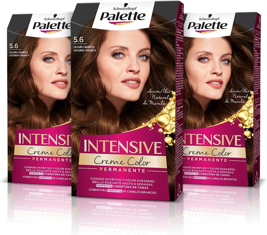 Schwarzkopf Palette Intensive Creme Color- Tono 5.6 cabello Castaño Caramelo (Pack de 3) - Coloración Permanente de Cuidado con Aceite de Marula, ...
