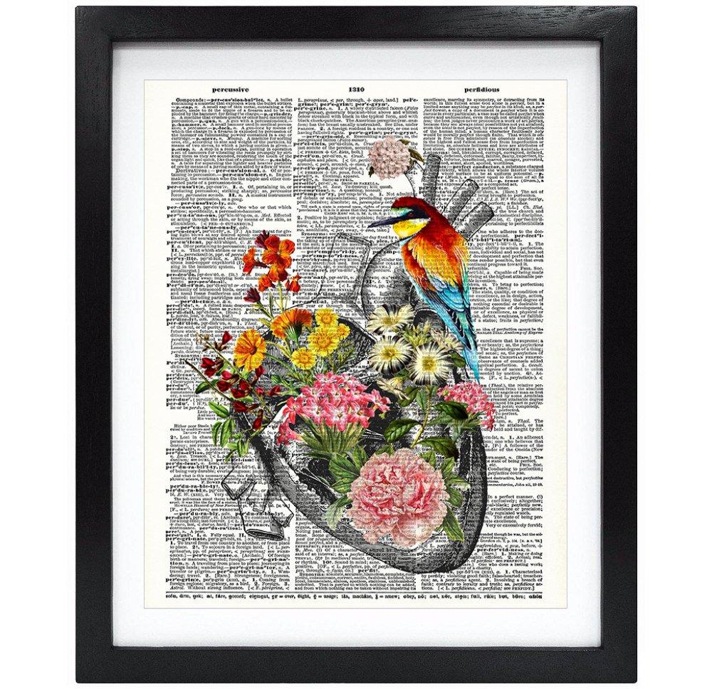 Susie Arts 8X10 Unframed Flowery Heart with bird Upcycled Vintage Dictionary Art Print Book Art Print Home Decor Wall Art Human Science Anatomy Art V105