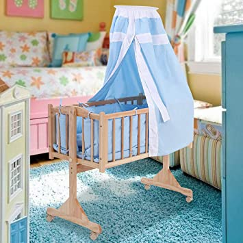 Pine Wood Baby Toddler Bed Convertible Nursery Infant Newborn W//Canopy Blue