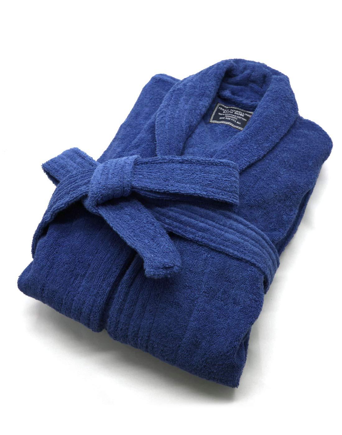 100% Cotton Terry Bath Robe,Men and Women, Soft & Warm Fleece Home Bathrobe, Sleepwear Loungewear Robe, One Size Fits All (Navy Blue)
