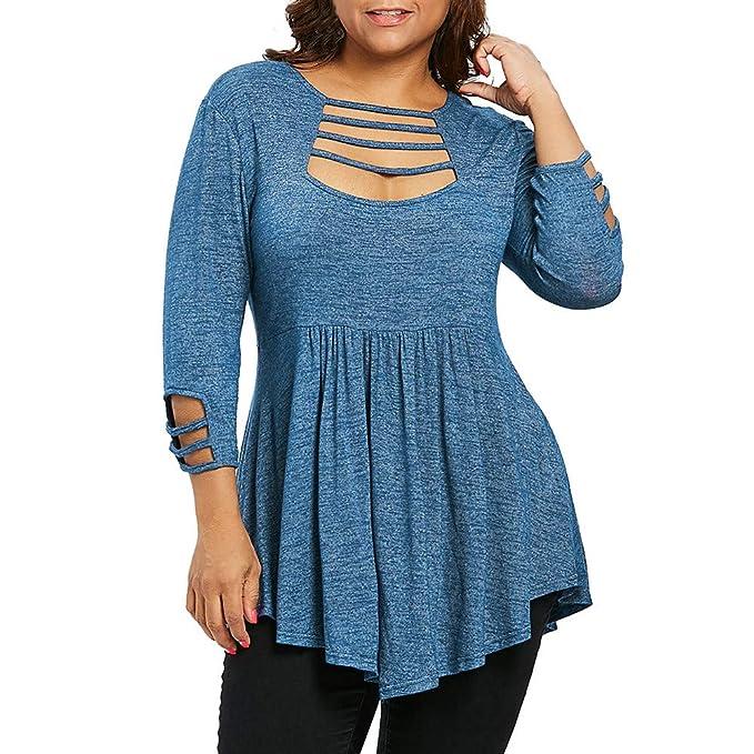 Luckycat Mujeres de la Manera Casual Tallas Grandes Escala Recortada de Cintura Alta T-Shirt