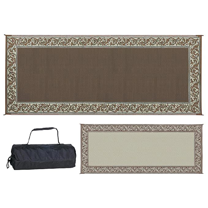 Stylish Camping RC7 Brown/Beige 8-Feet x 20-Feet Classical Reversible Mat