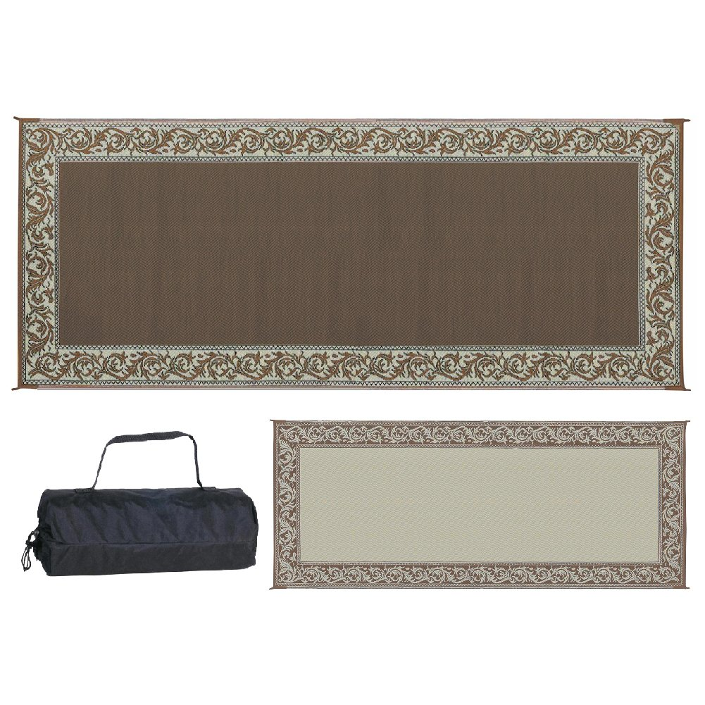 Stylish Camping C36X22 Ming's Mark RC7 Reversible Classical Patio Mat-8' x 20', Brown/Beige