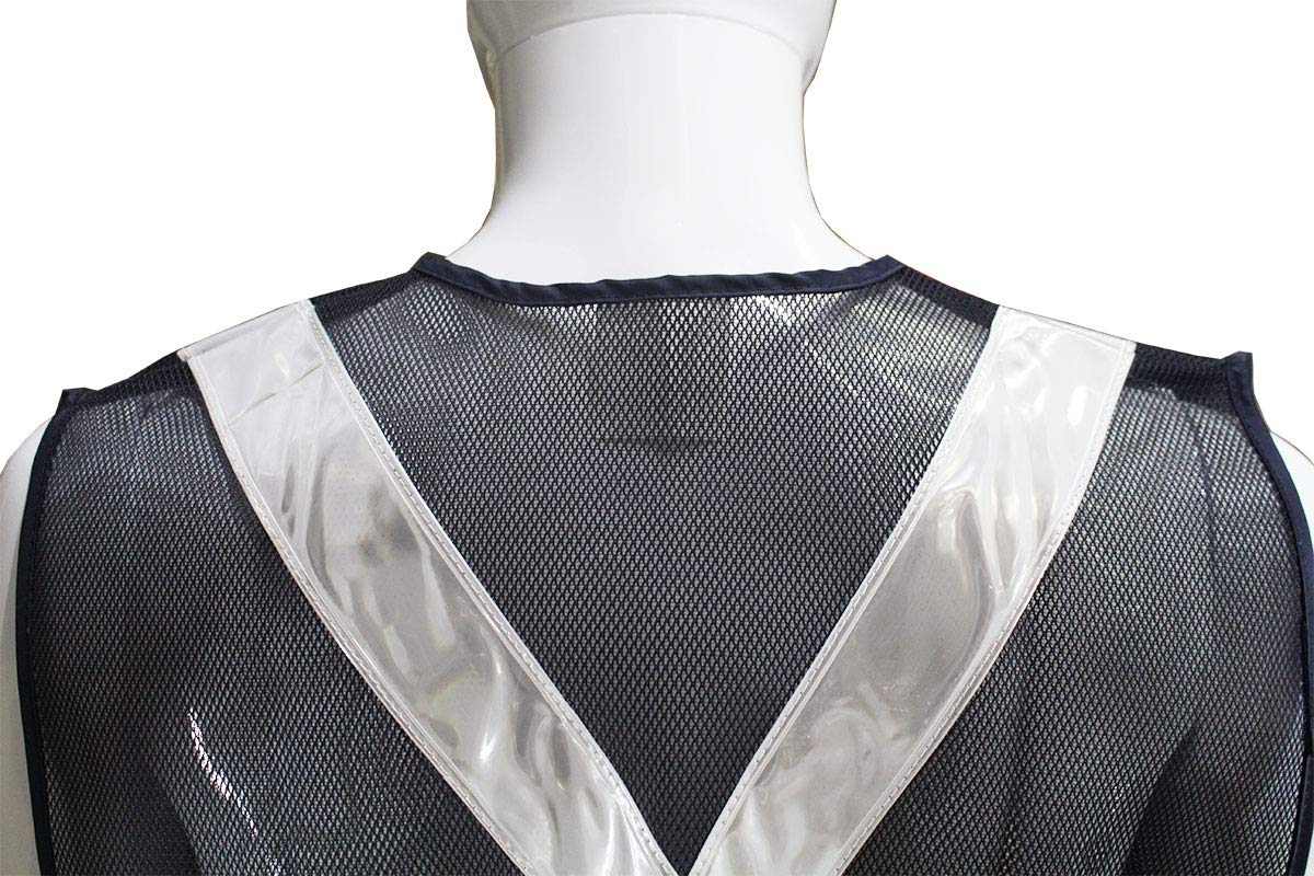 Front And Back SF-22224 BRITEGUARD Dark Mesh Safety Vest With White Reflective Strip