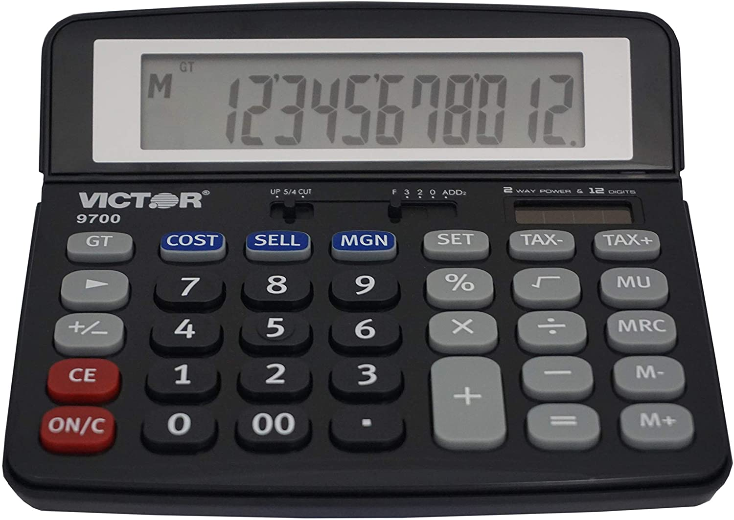 Victor 9700 12-Digit Standard Function Business Calculator, Battery and Solar Hybrid Powered Tilt LCD Display, Great for Home and Office Use, Black