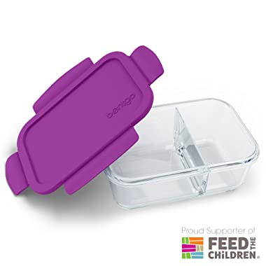 Bentgo Glass Snack (Purple) – 2-Compartment Bento-Style Glass Food Storage for Snacks & Small Meals   Ideal for Meal Prep, Leftovers, and Portion Control – FDA-Approved, BPA-Free, Food-Safe Materials
