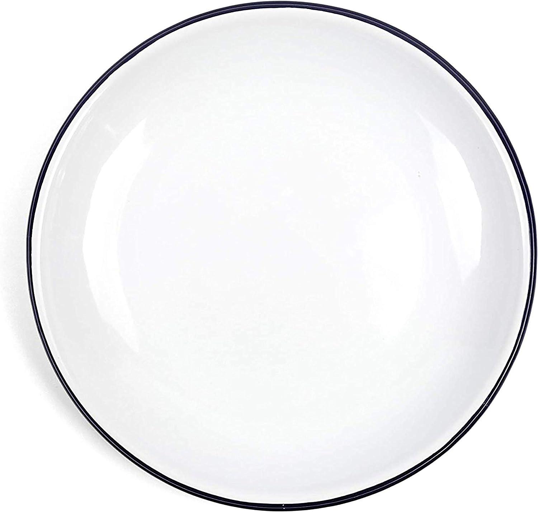 Enamelware Heavy Gauge Salad Coupe Plate, 8.1 inch, Vintage White/Black (Set of 4)