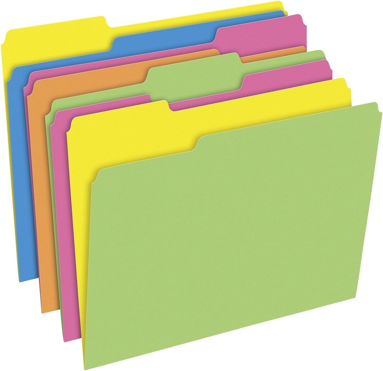 Letter Size 1//5 Cut Asstd Colors Pendaflex Glow Hanging File Folder 25-Pk