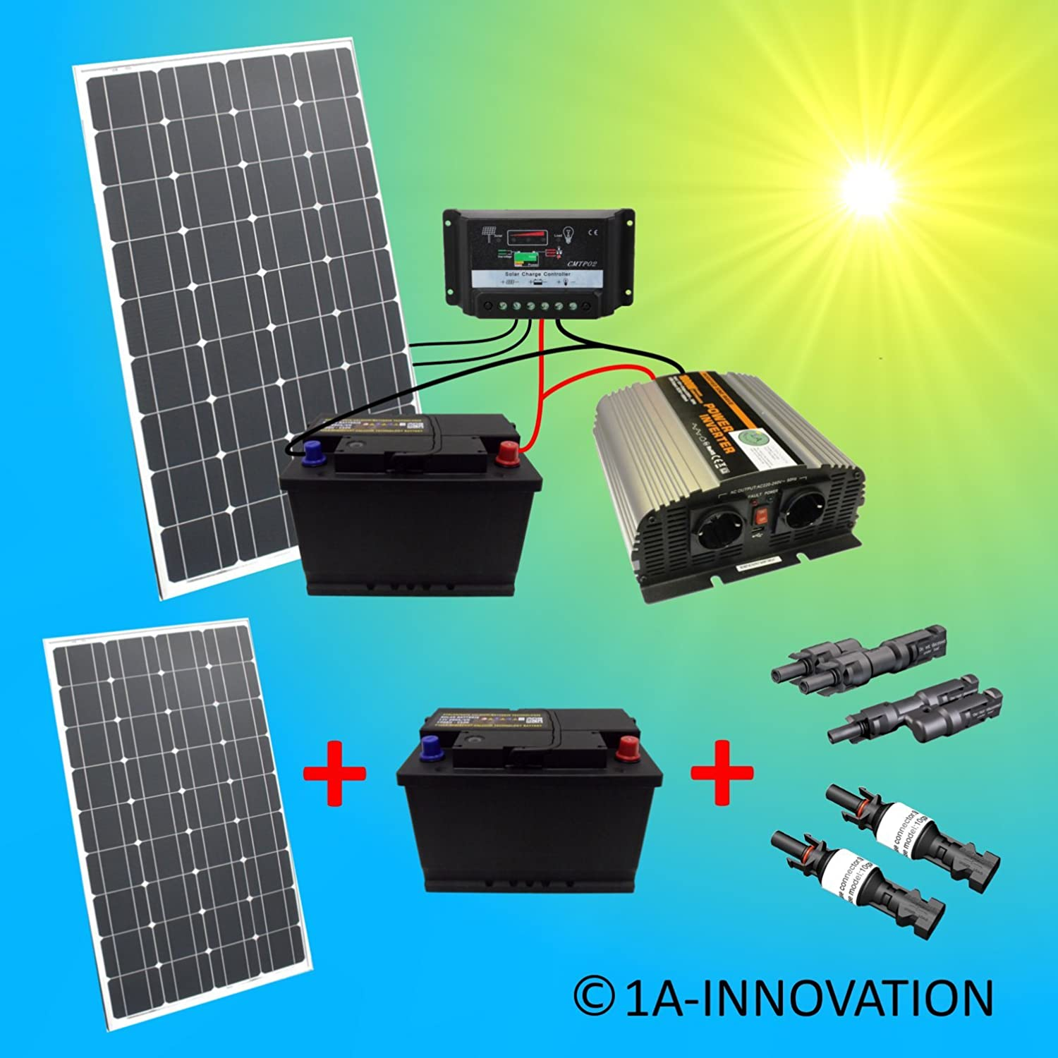komplette 220v solaranlage t v mit 2x 100ah akkus 200w solarmodul 1000w spannungswandler. Black Bedroom Furniture Sets. Home Design Ideas