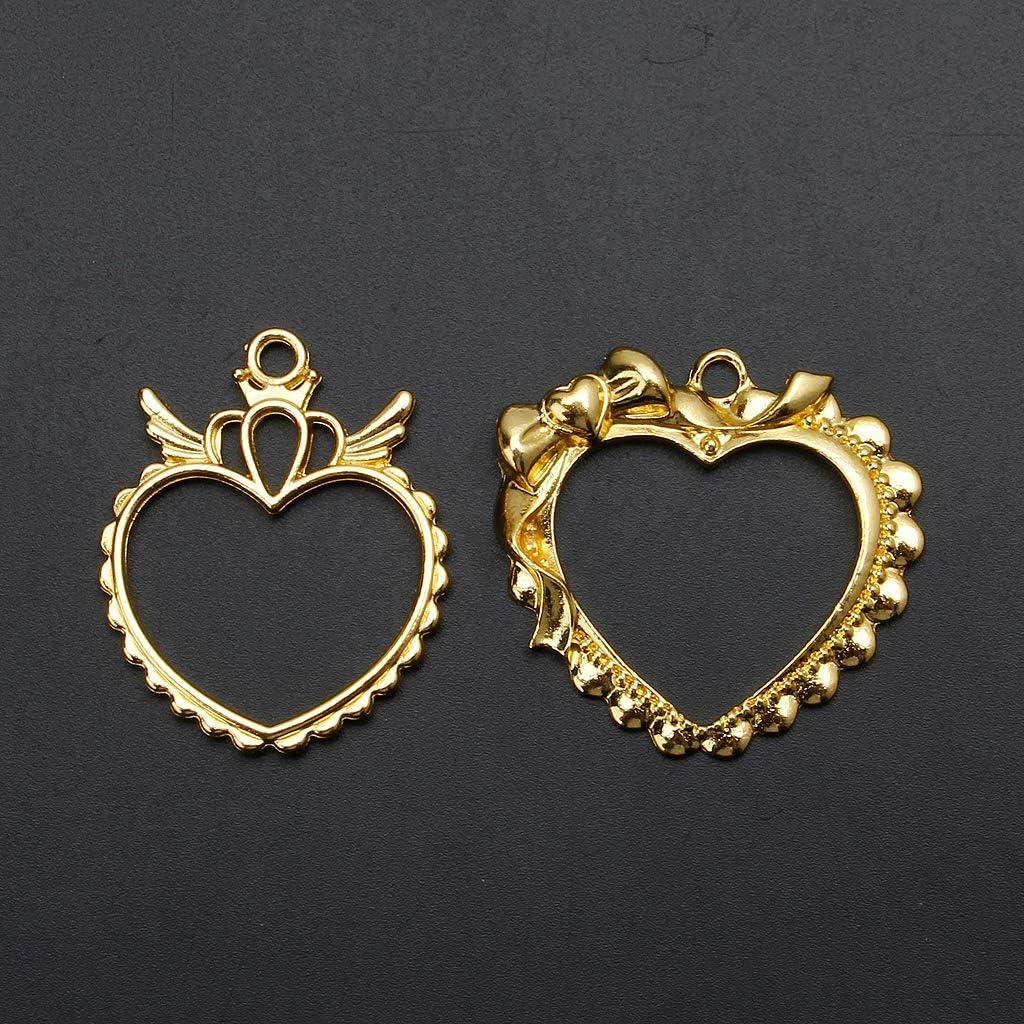 c/œur en r/ésine Lot de 2 moules en silicone en forme dailes de bowtie fabrication de bijoux cadre vierge lunette en r/ésine pendentif ouvert