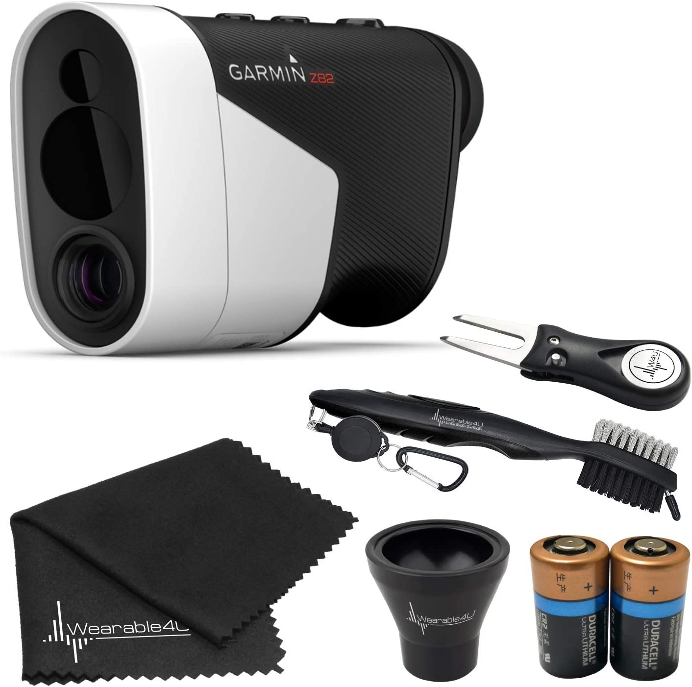 Wearable4U Garmin Approach Z82 (2020 Release) Golf GPS Laser Rangefinder with Included Lens Cloth, Carabiner, Two (2) CR2 Batteries Ultimate Golf 3 Tools Bundle