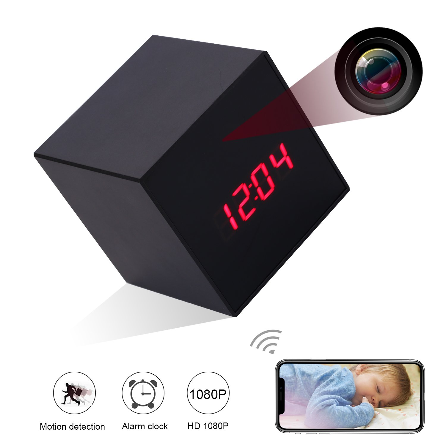 WiFi Hidden Spy Camera Alarm Clock 12/24 Hour System,HD 1080P Wireless Security Clock Camera with Motion Detection for Home Office Travel-Back