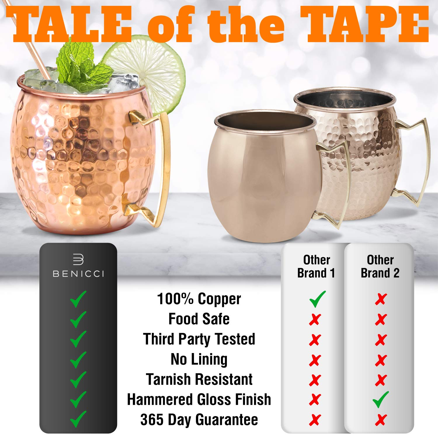 Moscow Mule Copper Mugs - Set of 4-100% HANDCRAFTED - Food Safe Pure Solid Copper Mugs - 16 oz Gift Set with BONUS: Highest Quality Cocktail Copper Straws and Jigger! by Benicci (Image #5)