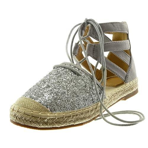 Angkorly - Zapatillas Moda Sandalias Alpargatas Altas Correa de Tobillo Mujer Brillante Correas Cruzadas Cuerda Tacón Ancho 2 CM: Amazon.es: Zapatos y ...