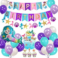 Mermaid Birthday Party Decorations with Happy Birthday Banner, DIY Cake Toppers, Purple Blue White Latex Balloons for Girls Womens Birthday Baby Shower Party Backdrop